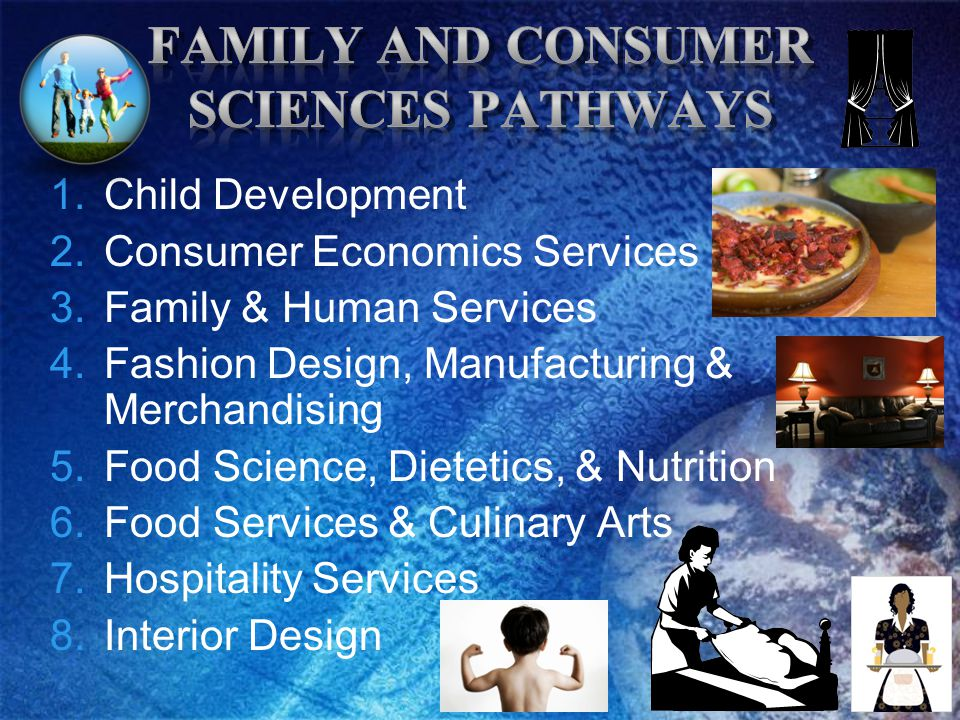 1.Child Development 2.Consumer Economics Services 3.Family & Human Services 4.Fashion Design, Manufacturing & Merchandising 5.Food Science, Dietetics, & Nutrition 6.Food Services & Culinary Arts 7.Hospitality Services 8.Interior Design