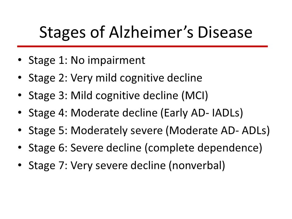 Stages of Alzheimer's Disease Stage 1: No impairment Stage 2: Very mild cognitive decline Stage 3: Mild cognitive decline (MCI) Stage 4: Moderate decl