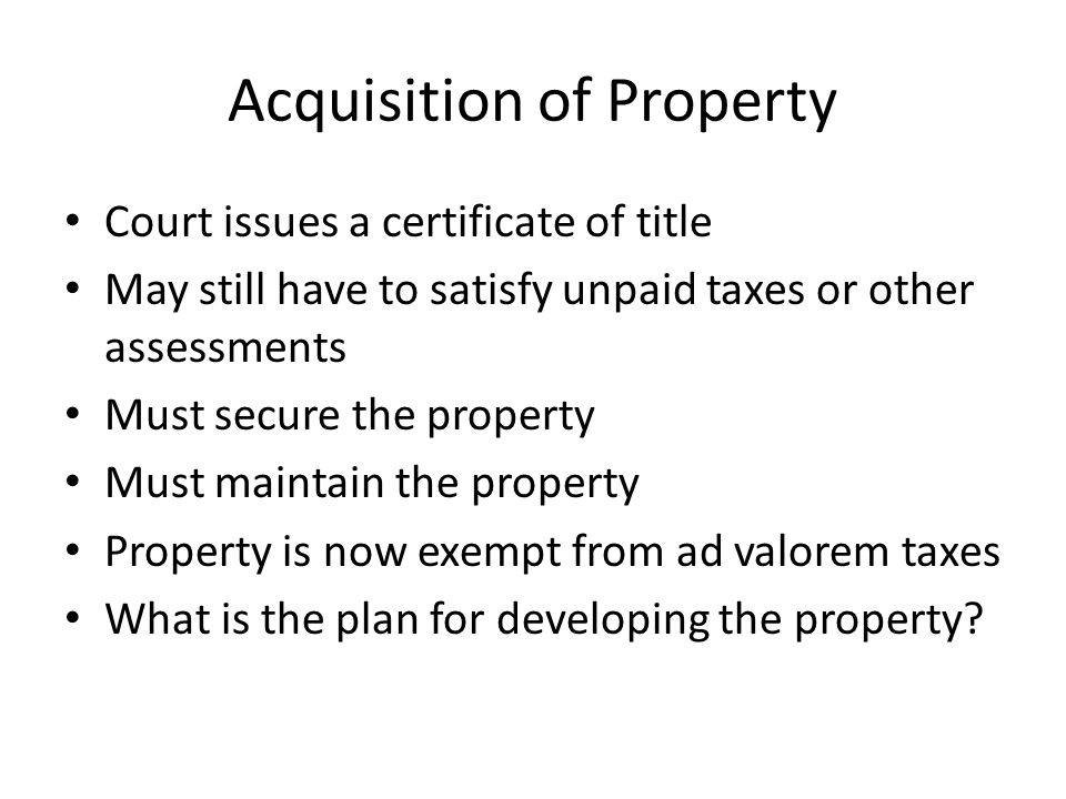 Purchase of Tax Deed Section 197.542, Florida Statutes Property can be purchased by the highest bidder through sale at the courthouse Sales are now being conducted online Once tax deed is issued, the purchaser is entitled to immediate possession of the property.