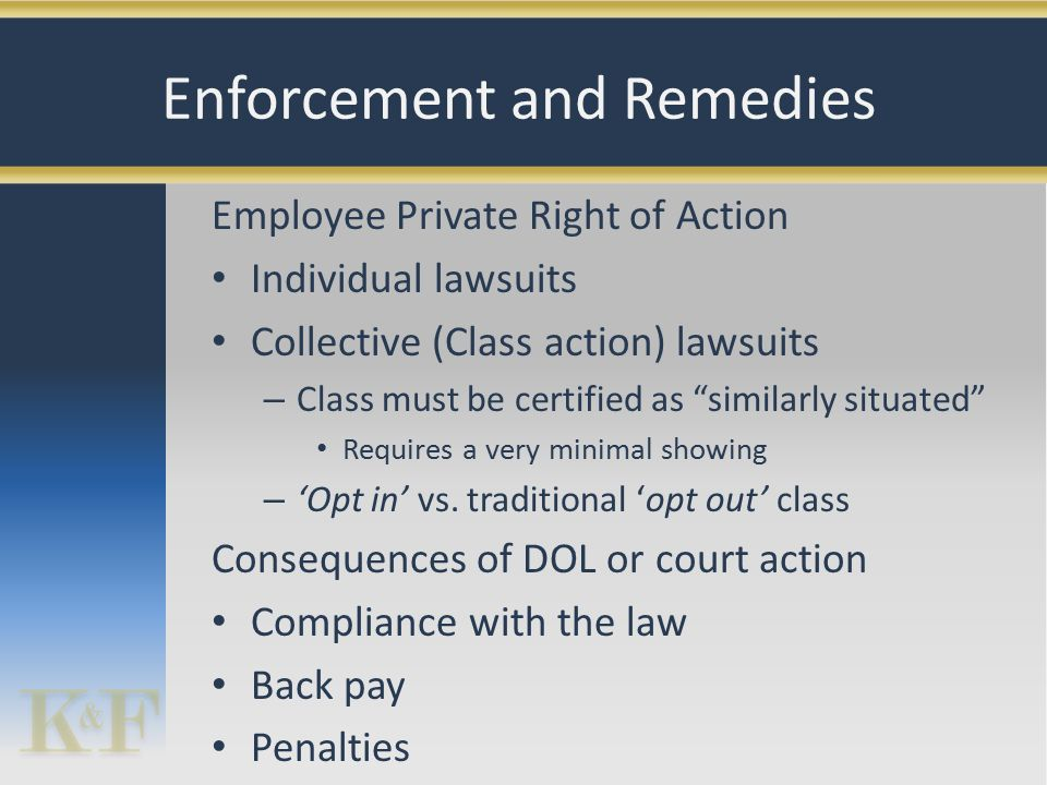 Employee Private Right of Action Individual lawsuits Collective (Class action) lawsuits – Class must be certified as similarly situated Requires a very minimal showing – 'Opt in' vs.