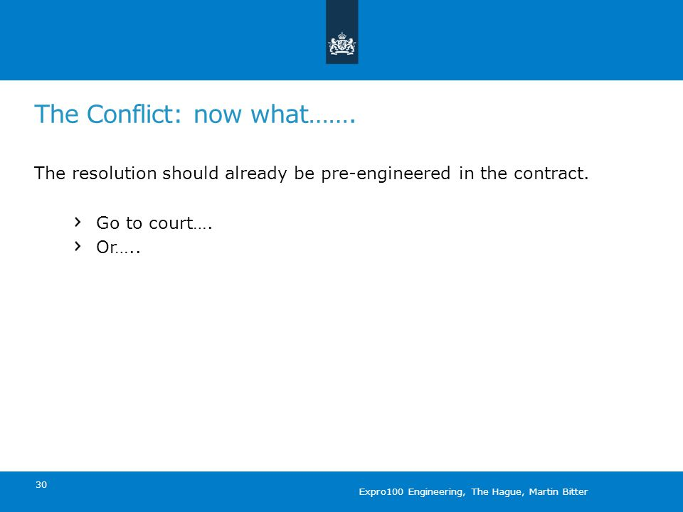 The Conflict: now what……. The resolution should already be pre-engineered in the contract.