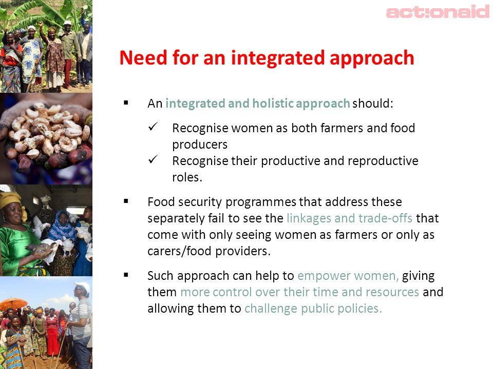 Need for an integrated approach  An integrated and holistic approach should: Recognise women as both farmers and food producers Recognise their productive and reproductive roles.