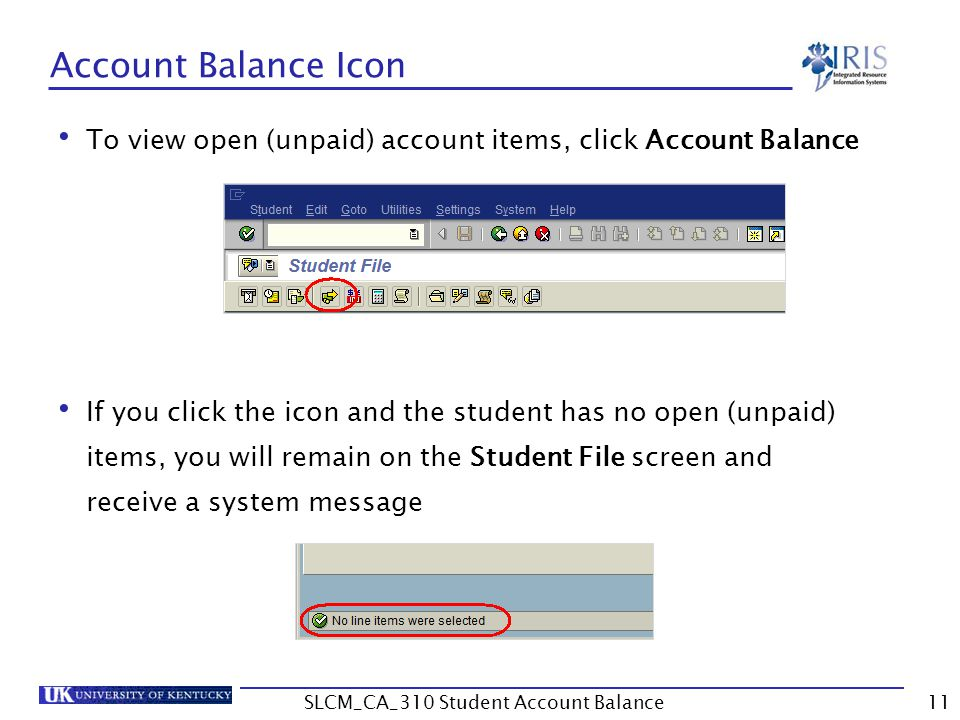 Account Balance Icon To view open (unpaid) account items, click Account Balance If you click the icon and the student has no open (unpaid) items, you will remain on the Student File screen and receive a system message 11SLCM_CA_310 Student Account Balance