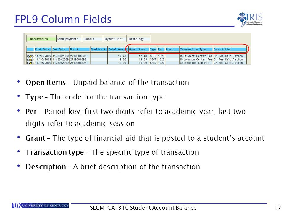 FPL9 Column Fields Open Items – Unpaid balance of the transaction Type – The code for the transaction type Per – Period key; first two digits refer to academic year; last two digits refer to academic session Grant – The type of financial aid that is posted to a student's account Transaction type – The specific type of transaction Description – A brief description of the transaction 17SLCM_CA_310 Student Account Balance