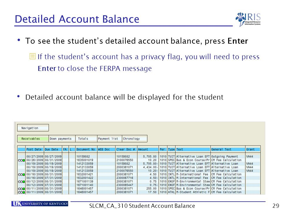 Detailed Account Balance To see the student's detailed account balance, press Enter  If the student's account has a privacy flag, you will need to press Enter to close the FERPA message Detailed account balance will be displayed for the student 29SLCM_CA_310 Student Account Balance