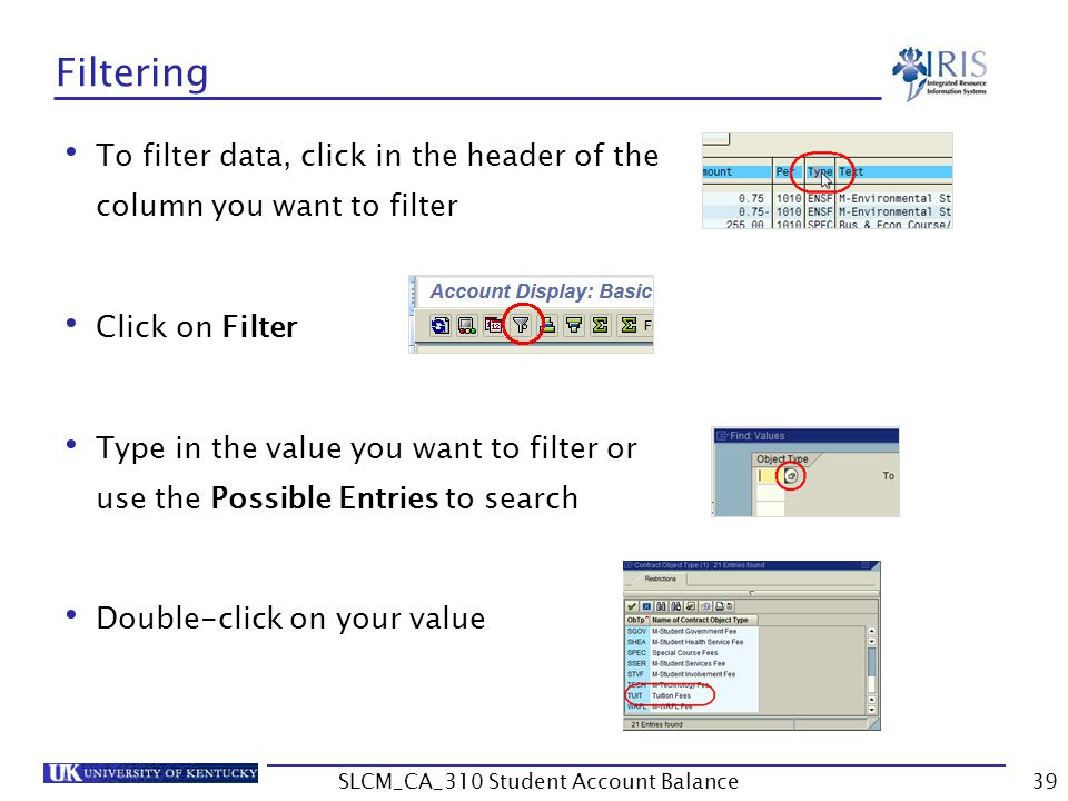 Filtering To filter data, click in the header of the column you want to filter Click on Filter Type in the value you want to filter or use the Possible Entries to search Double-click on your value 39SLCM_CA_310 Student Account Balance