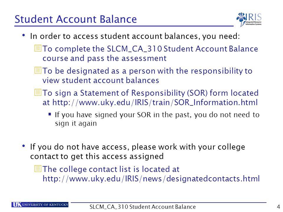 Unit 1 PIQST00 Student Account 5SLCM_CA_310 Student Account Balance