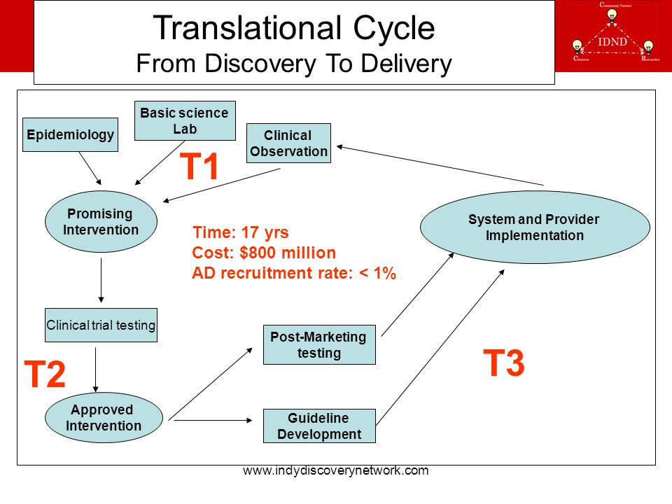 www.indydiscoverynetwork.com Translational Cycle From Discovery To Delivery Basic science Lab Epidemiology Clinical Observation Promising Intervention Clinical trial testing Approved Intervention Post-Marketing testing Guideline Development System and Provider Implementation Time: 17 yrs Cost: $800 million AD recruitment rate: < 1% T1 T2 T3