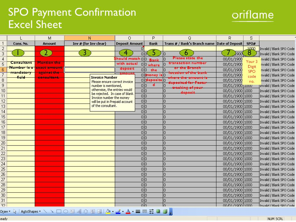 1234568 SPO Payment Confirmation Excel Sheet Consultant Number is a mandatory field Mention the exact amount against the consultant.