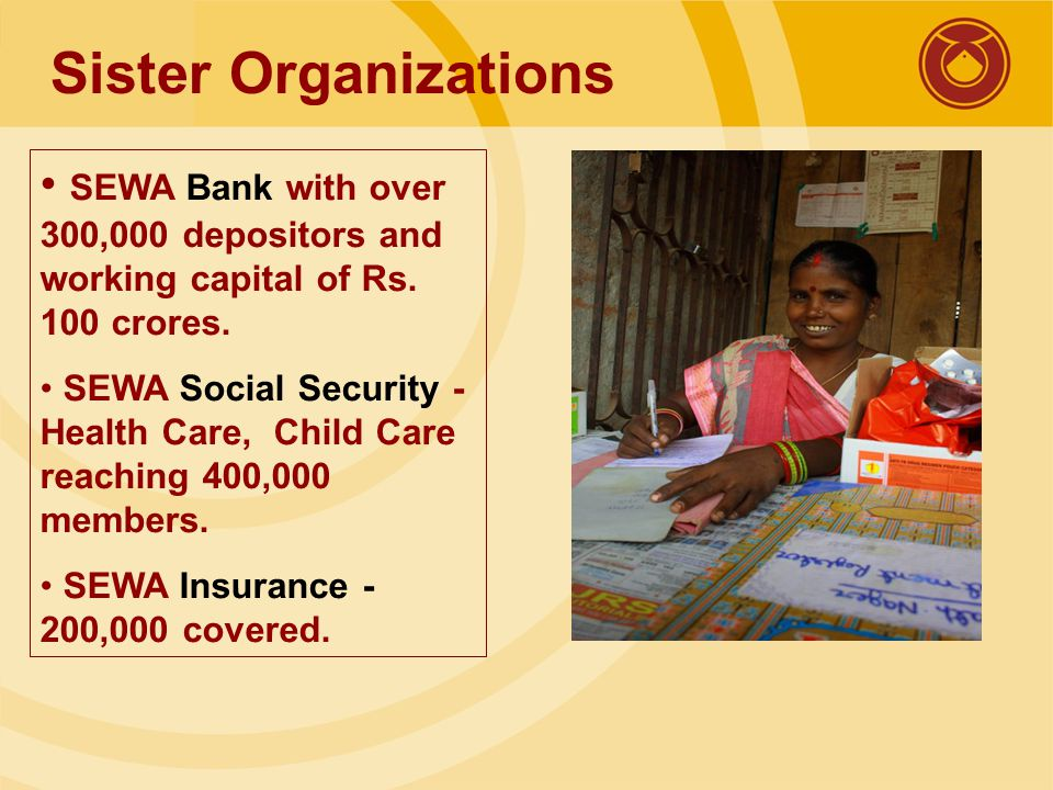 Sister Organizations SEWA Bank with over 300,000 depositors and working capital of Rs.