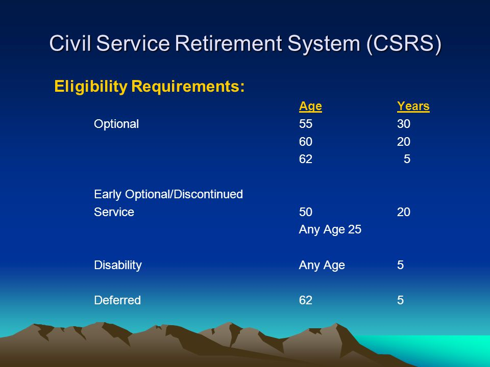 Civil Service Retirement System (CSRS) Eligibility Requirements: AgeYears Optional5530 6020 62 5 Early Optional/Discontinued Service5020 Any Age25 Dis