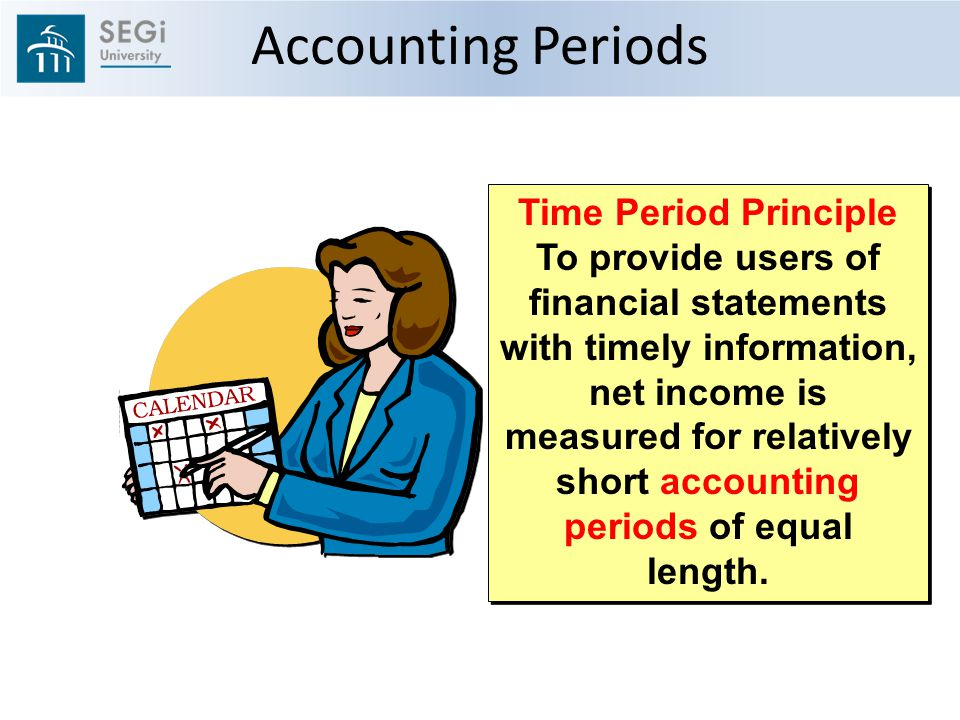 Accounting Periods Time Period Principle To provide users of financial statements with timely information, net income is measured for relatively short accounting periods of equal length.