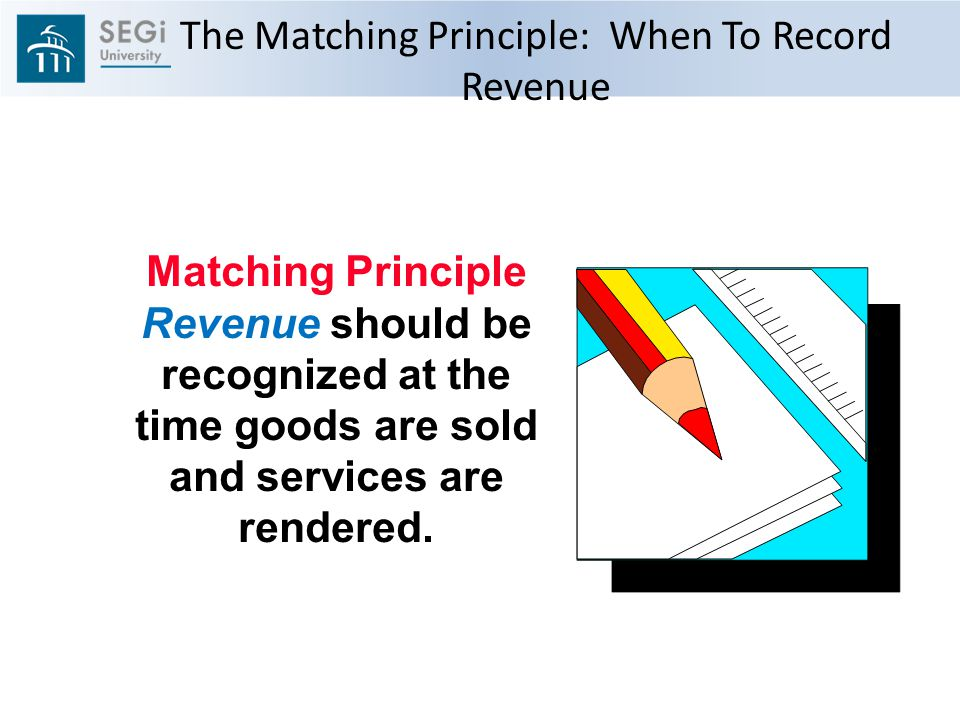 The Matching Principle: When To Record Revenue Matching Principle Revenue should be recognized at the time goods are sold and services are rendered.
