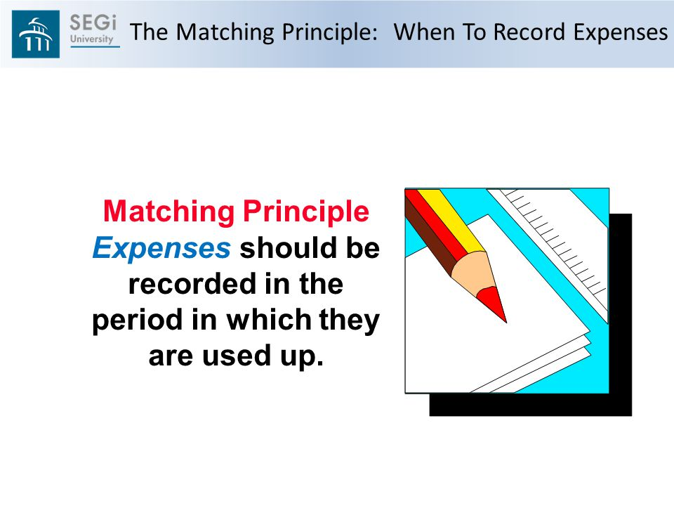 The Matching Principle: When To Record Expenses Matching Principle Expenses should be recorded in the period in which they are used up.