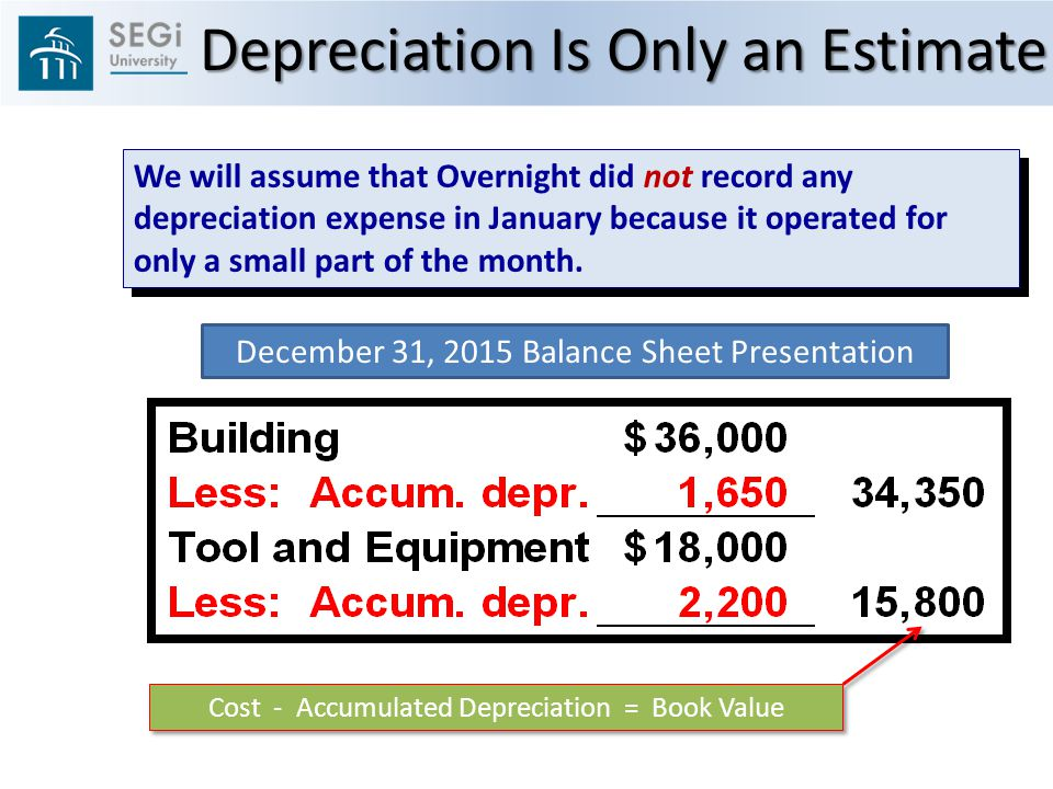 We will assume that Overnight did not record any depreciation expense in January because it operated for only a small part of the month.