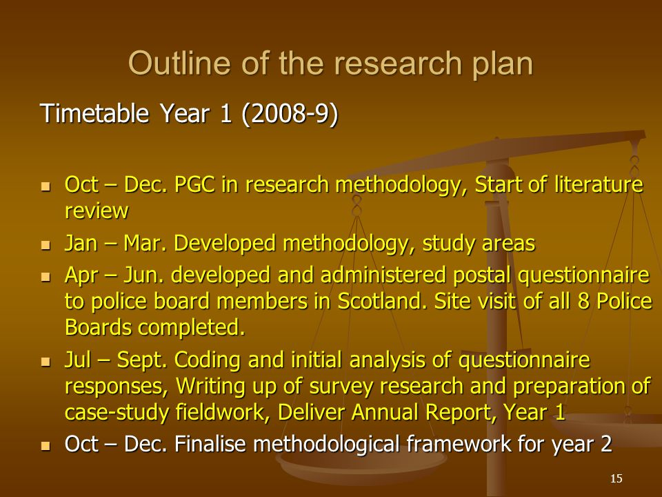 15 Outline of the research plan Timetable Year 1 (2008-9) Oct – Dec.
