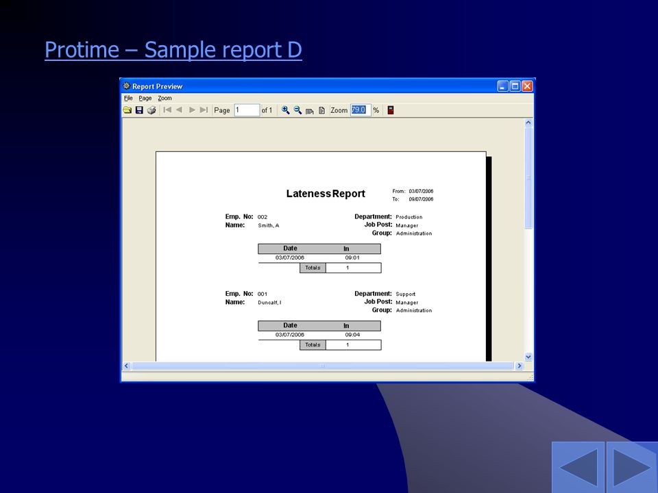 Protime – Sample report D