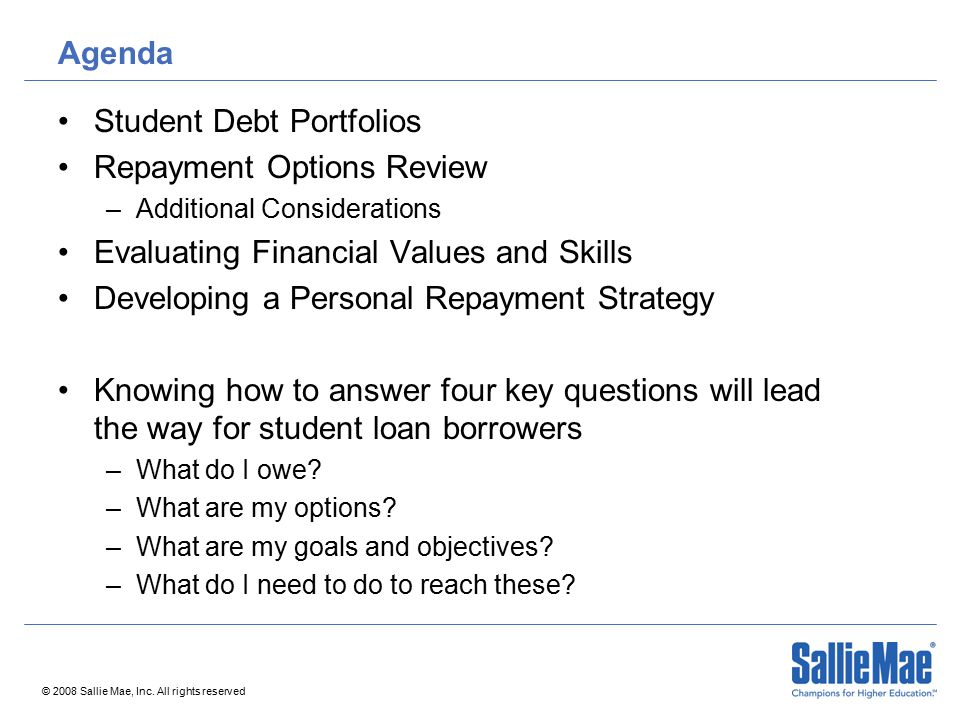 Agenda Student Debt Portfolios Repayment Options Review –Additional Considerations Evaluating Financial Values and Skills Developing a Personal Repaym