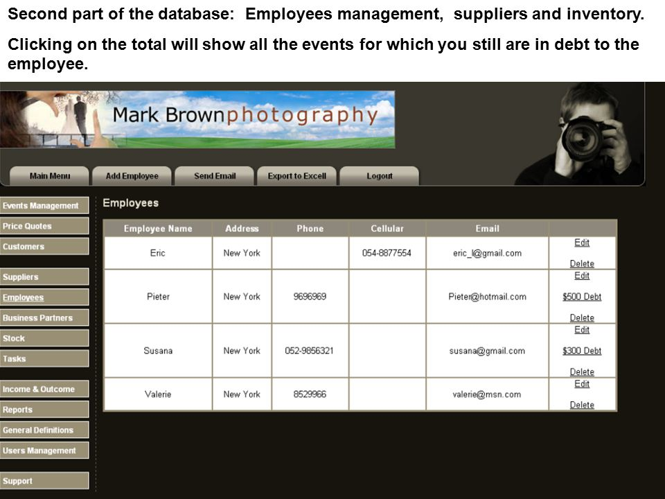 Second part of the database: Employees management, suppliers and inventory. Clicking on the total will show all the events for which you still are in