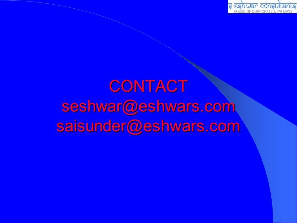CONTACT seshwar@eshwars.com saisunder@eshwars.com