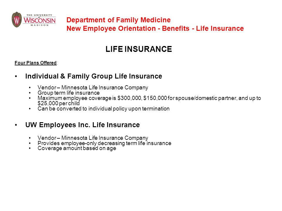 LIFE INSURANCE Four Plans Offered: Individual & Family Group Life Insurance Vendor – Minnesota Life Insurance Company Group term life insurance Maximu