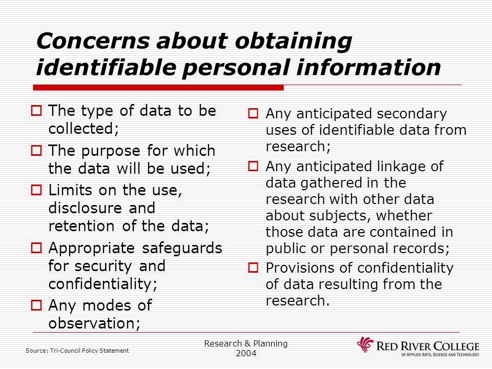 Research & Planning 2004 Concerns about obtaining identifiable personal information  The type of data to be collected;  The purpose for which the da