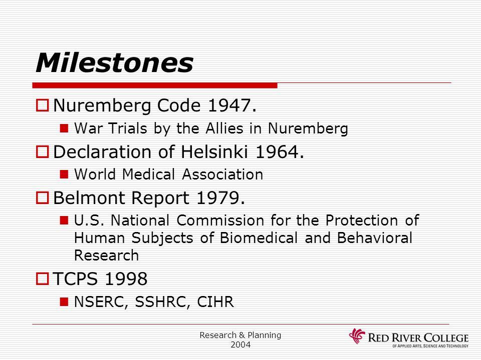 Research & Planning 2004 Milestones  Nuremberg Code 1947. War Trials by the Allies in Nuremberg  Declaration of Helsinki 1964. World Medical Associa