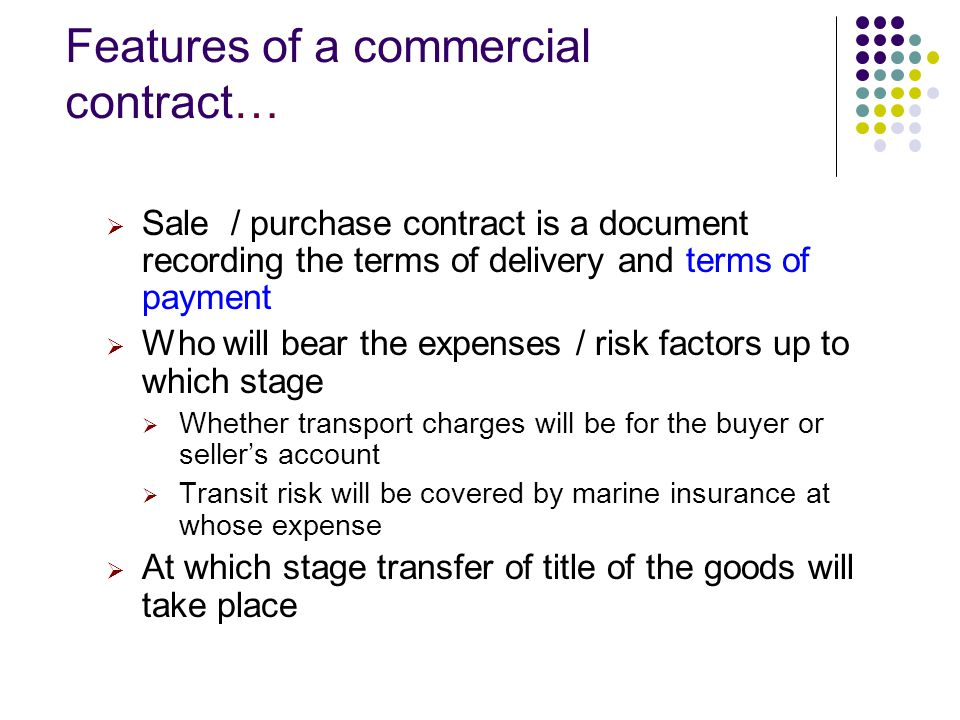 sellerbuyer Commercial contractual terms