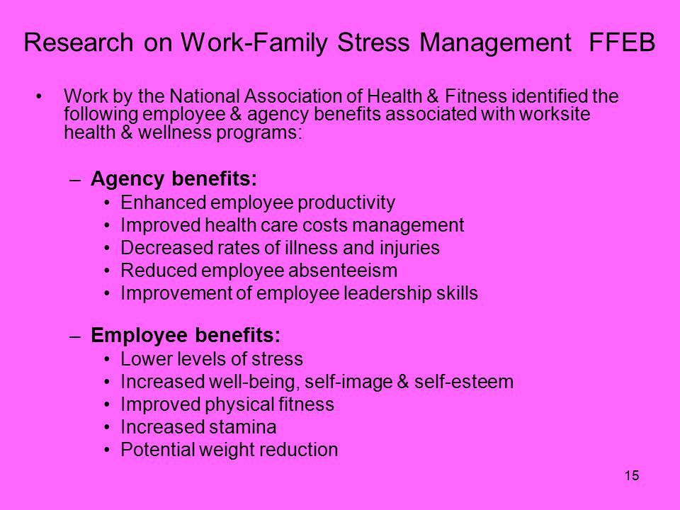 15 Research on Work-Family Stress Management FFEB Work by the National Association of Health & Fitness identified the following employee & agency benefits associated with worksite health & wellness programs: –Agency benefits: Enhanced employee productivity Improved health care costs management Decreased rates of illness and injuries Reduced employee absenteeism Improvement of employee leadership skills –Employee benefits: Lower levels of stress Increased well-being, self-image & self-esteem Improved physical fitness Increased stamina Potential weight reduction
