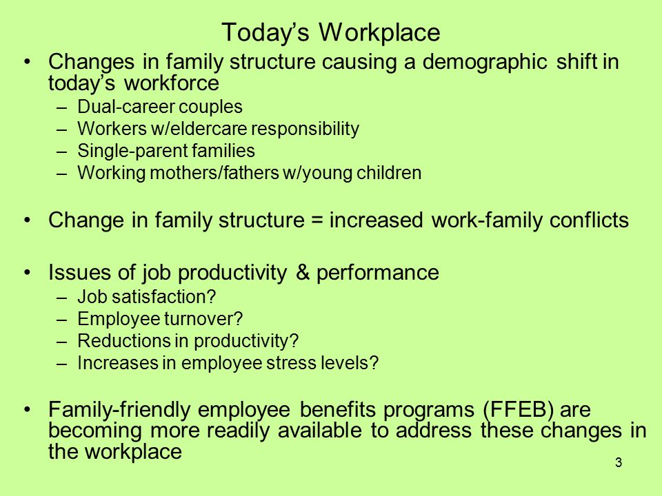 14 FFEB: Work-Family Stress Management Employee Assistance Programs: free, voluntary, short-term counseling and referral for various issues affecting employee mental and emotional well-being (i.e., alcohol/substance abuse, stress, grief, family problems, psychological disorders, etc.) Health Promotion Programs: programs/services provided to employees to increase health awareness and/or change behavior(s) (i.e., programs/services to increase knowledge of chronic disease risk factors, creation of opportunities for physical activity and healthy eating at work, general awareness education, life skills services, free smoking cessation services, safety programs, etc.) Work-Family Resource Center: employee assistance/counseling programs designed to provide employees and their family members with resources for resolving work related and personal problems Courses on Life Balancing: programs provided by employers to educate employees on how to balance their time/energy between work and other aspects of their lives; can be in the form of classes, policies, procedures, organizational culture, expectations, etc.
