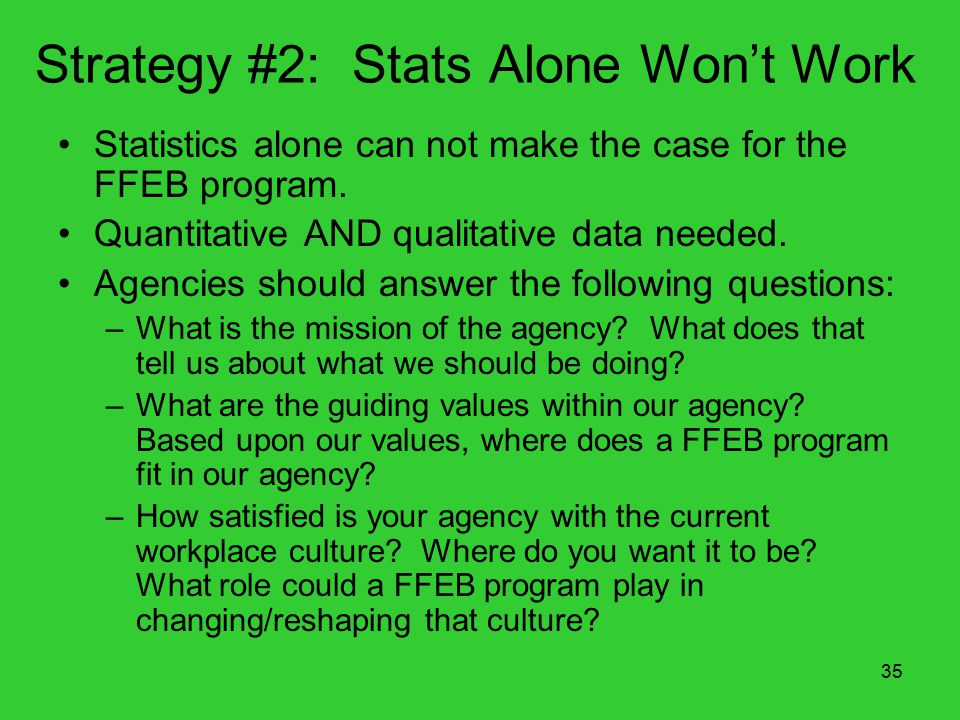 35 Strategy #2: Stats Alone Won't Work Statistics alone can not make the case for the FFEB program.