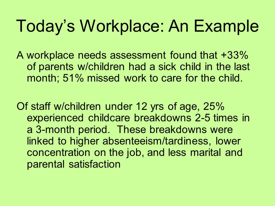 Today's Workplace: An Example A workplace needs assessment found that +33% of parents w/children had a sick child in the last month; 51% missed work to care for the child.