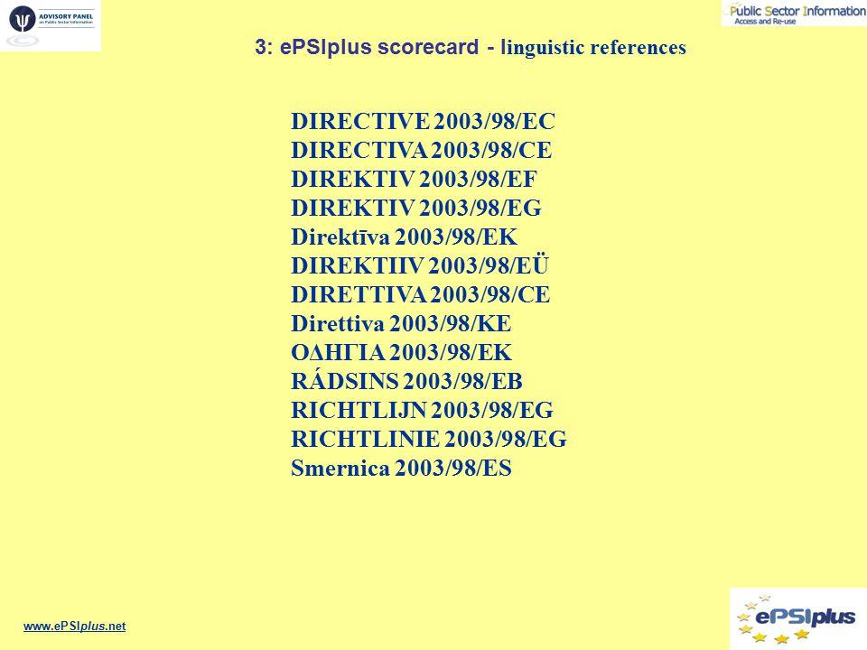 www.ePSIplus.net 3: ePSIplus scorecard - l inguistic references DIRECTIVE 2003/98/EC DIRECTIVA 2003/98/CE DIREKTIV 2003/98/EF DIREKTIV 2003/98/EG Direktīva 2003/98/EK DIREKTIIV 2003/98/EÜ DIRETTIVA 2003/98/CE Direttiva 2003/98/KE ΟΔΗΓΙΑ 2003/98/ΕΚ RÁDSINS 2003/98/EB RICHTLIJN 2003/98/EG RICHTLINIE 2003/98/EG Smernica 2003/98/ES