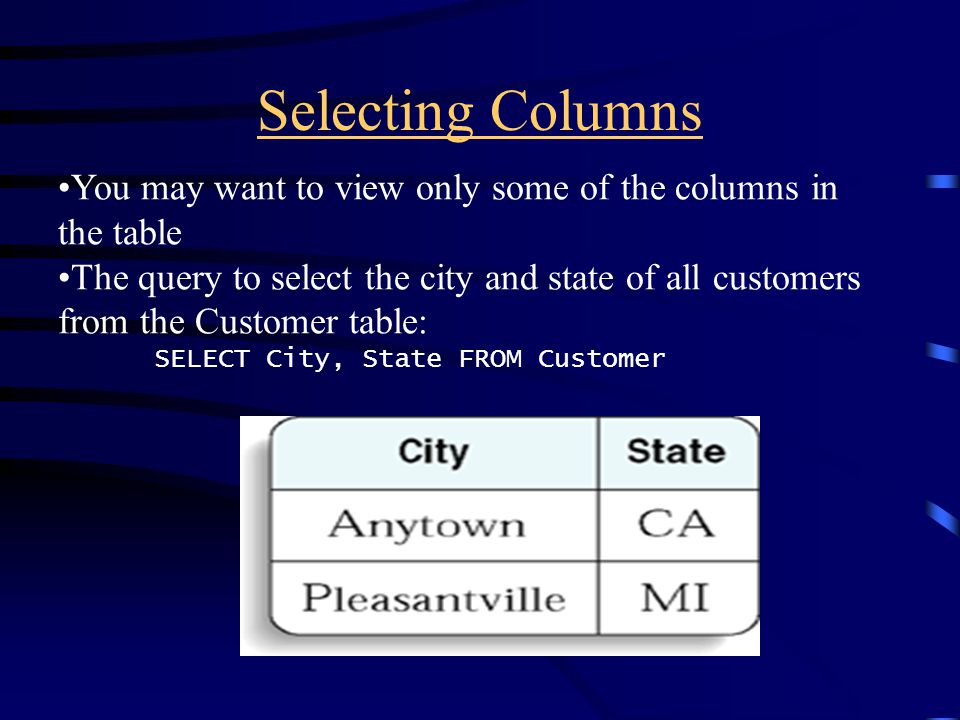 Selecting Columns You may want to view only some of the columns in the table The query to select the city and state of all customers from the Customer