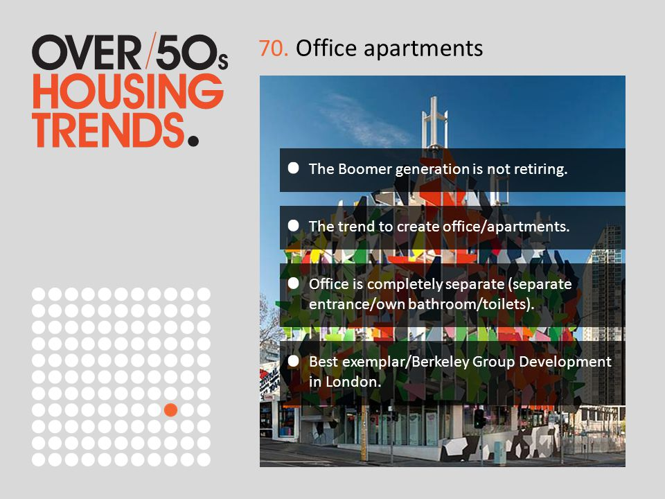 70. Office apartments The Boomer generation is not retiring. The trend to create office/apartments. Office is completely separate (separate entrance/o