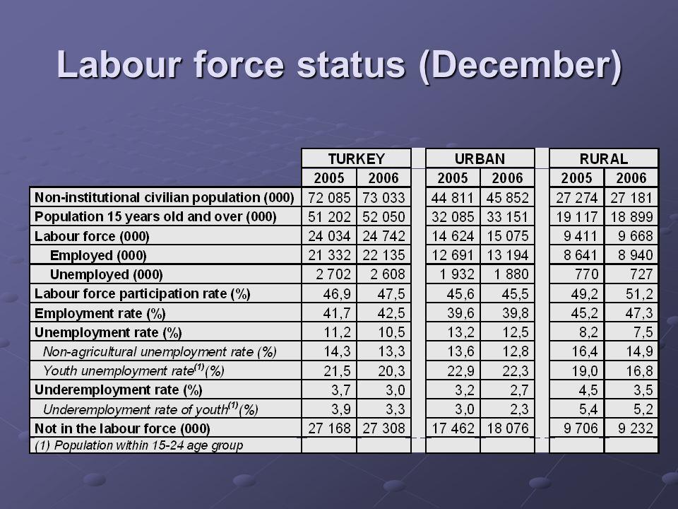 Labour force status (December)
