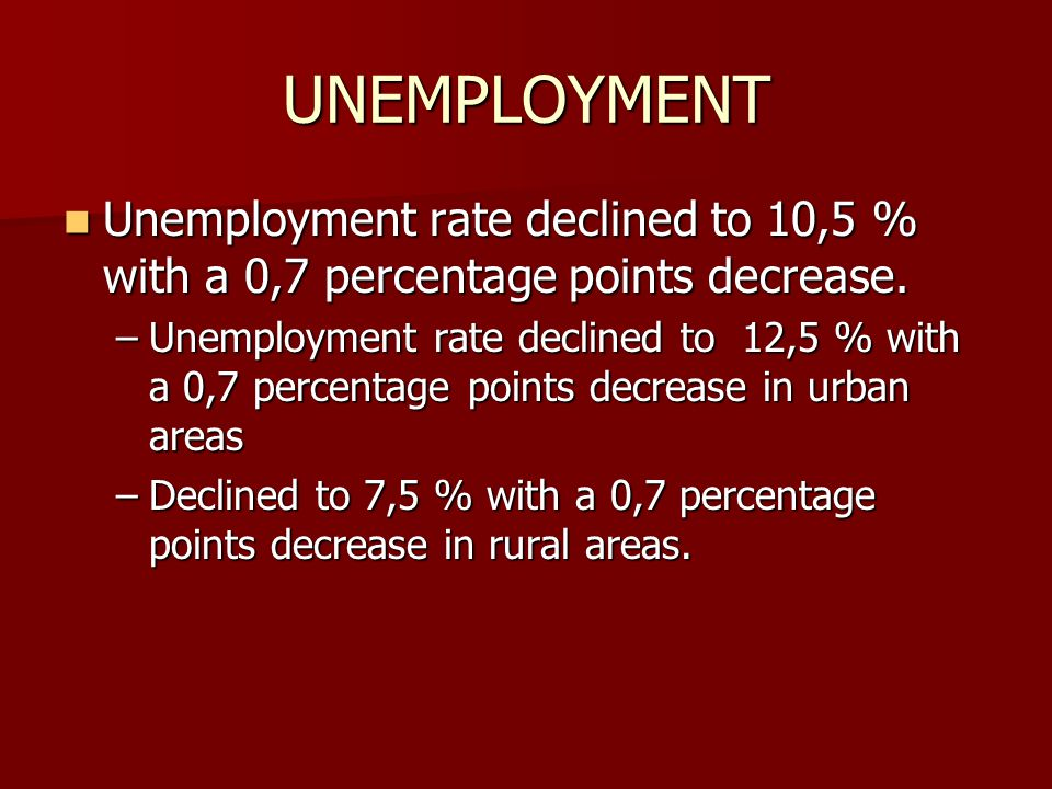 UNEMPLOYMENT Unemployment rate declined to 10,5 % with a 0,7 percentage points decrease. Unemployment rate declined to 10,5 % with a 0,7 percentage po