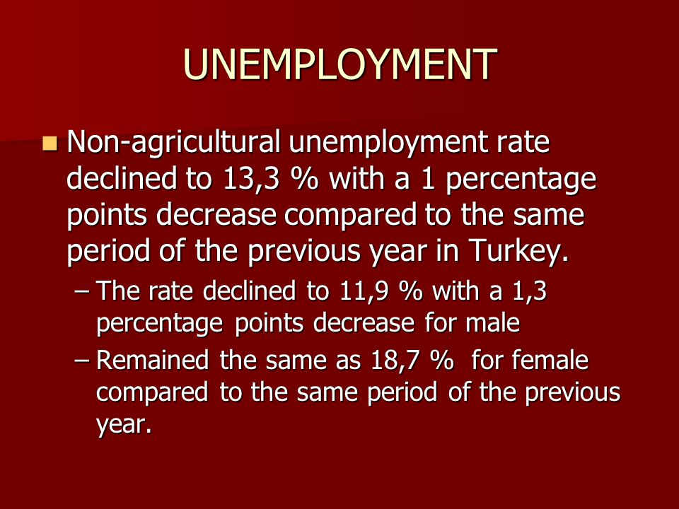 UNEMPLOYMENT Non-agricultural unemployment rate declined to 13,3 % with a 1 percentage points decrease compared to the same period of the previous yea
