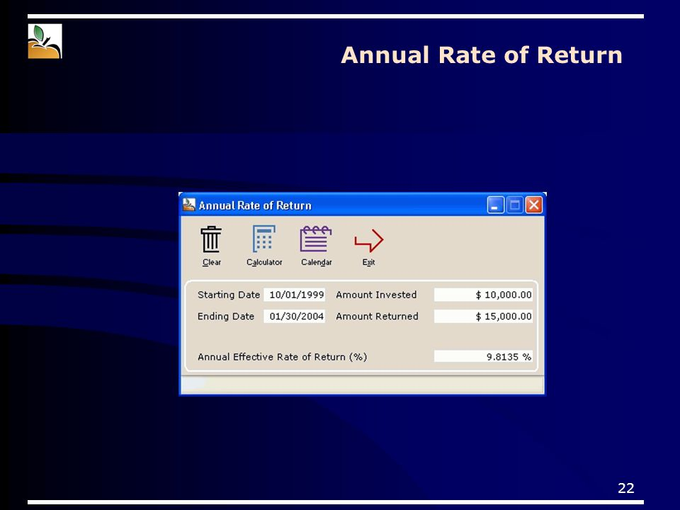 22 Annual Rate of Return