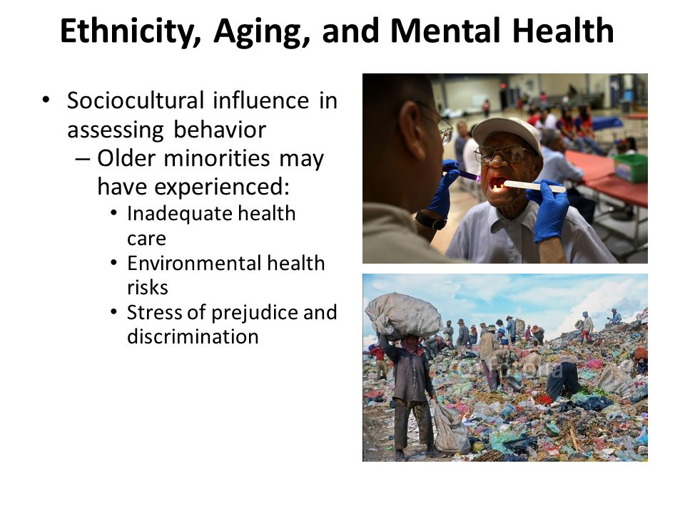 Ethnicity, Aging, and Mental Health – Ethnic differences found: Older Hispanic men show higher rate of alcohol abuse than women.
