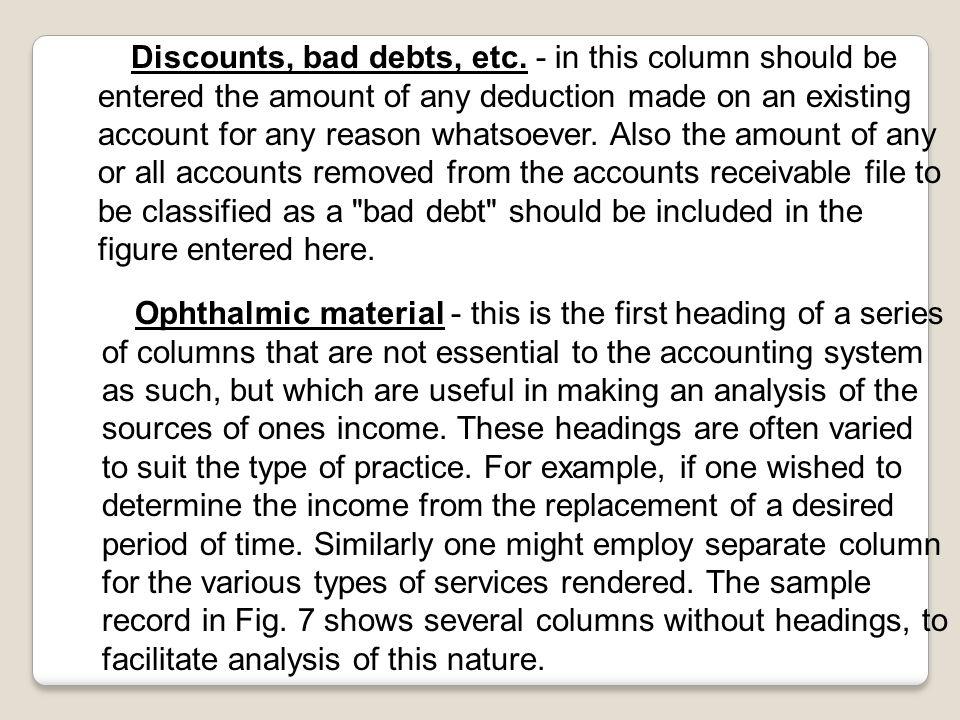 Discounts, bad debts, etc.