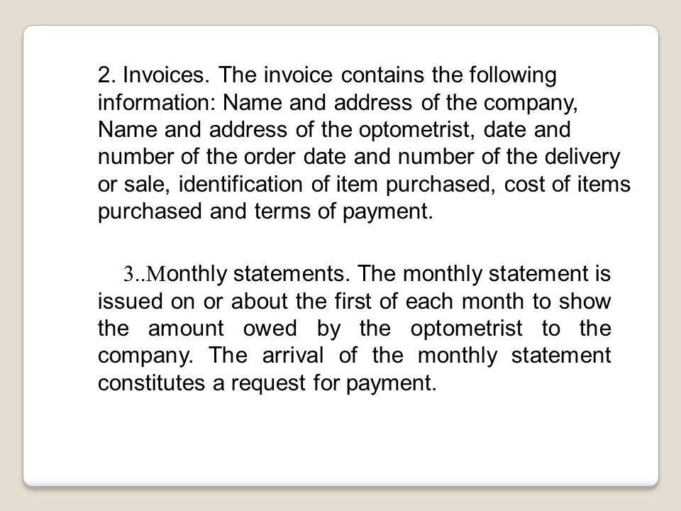 2. Invoices.