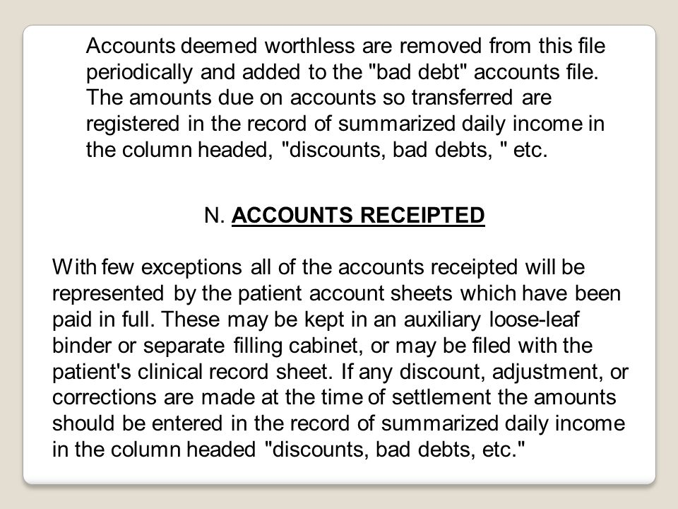 Accounts deemed worthless are removed from this file periodically and added to the bad debt accounts file.