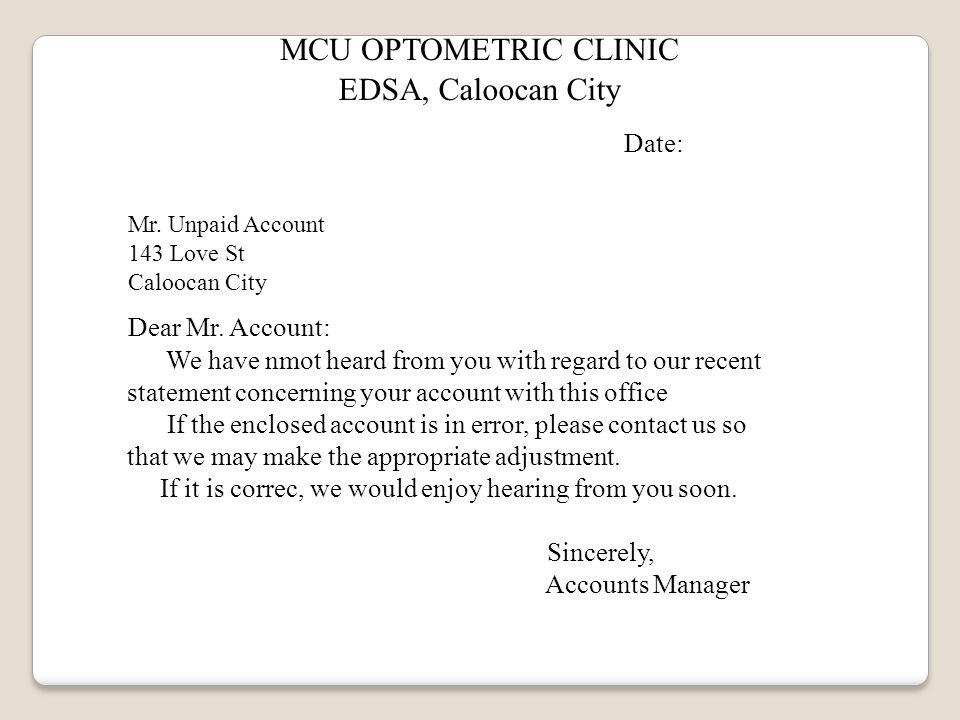 MCU OPTOMETRIC CLINIC EDSA, Caloocan City Date: Mr.