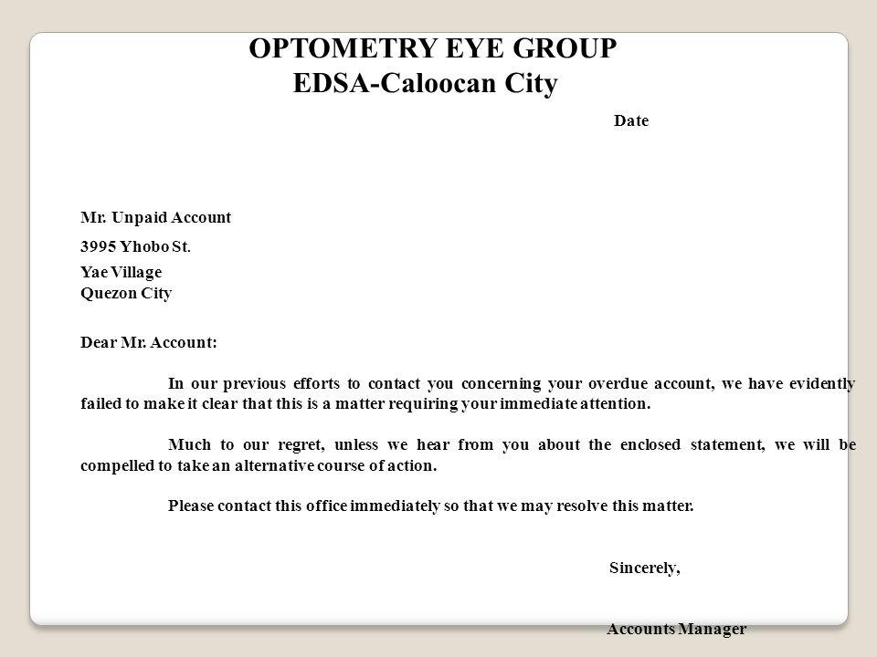 OPTOMETRY EYE GROUP EDSA-Caloocan City Date Mr. Unpaid Account 3995 Yhobo St.