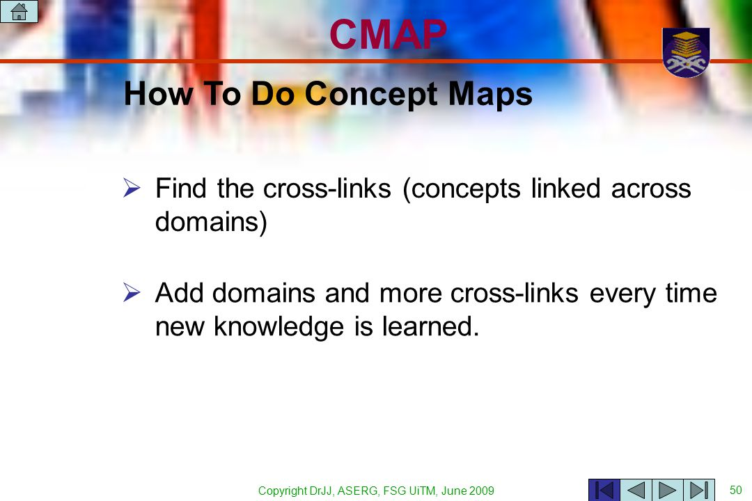 Copyright DrJJ, ASERG, FSG UiTM, June 2009 50 CMAP  Find the cross-links (concepts linked across domains) How To Do Concept Maps  Add domains and more cross-links every time new knowledge is learned.