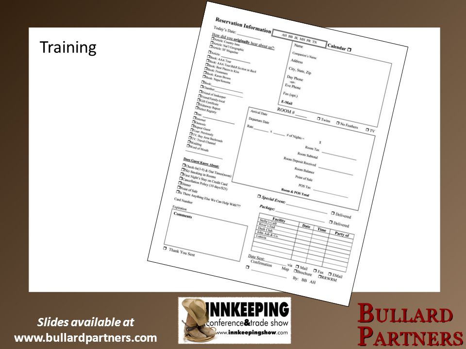 Slides available at www.bullardpartners.com Training