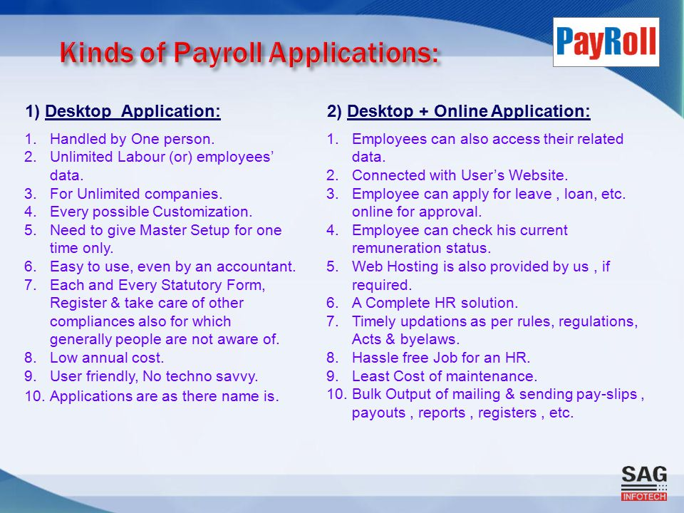 1) Desktop Application:2) Desktop + Online Application: 1.Handled by One person.