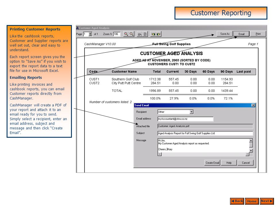 Customer Reporting Customer Reports CashManager invoicing offers a range of Customer reports that enable you to manage your Customers efficiently. Age