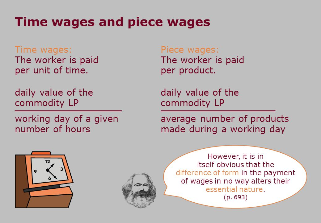 Time wages and piece wages Piece wages: The worker is paid per product. working day of a given number of hours daily value of the commodity LP average